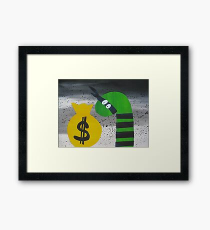 Snake on the Take- Rhyming animal prints for children Framed Print