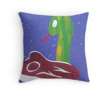 Snake with a Steak- animal rhymes made with recycled math books Throw Pillow