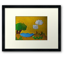 Snake by a Lake- recycled math book animal rhymes Framed Print
