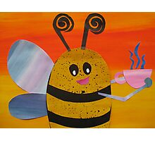 Bee Drinking Tea- Rhymes made from recycled math books Photographic Print