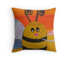Bee Drinking Tea- Rhymes made from recycled math books Throw Pillow
