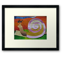 Snail reading Braille- recycled math book rhymes Framed Print