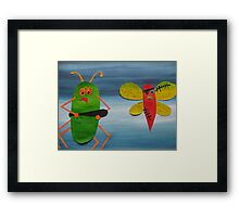 Bug thugs- Animal Rhymes - created from recycled math books Framed Print
