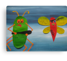Bug thugs- Animal Rhymes - created from recycled math books Canvas Print