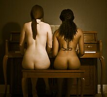 Young women at the piano by Terry Walker