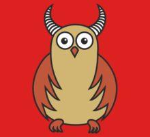 Funny Cartoon Horned Owl by Boriana Giormova