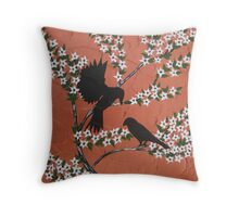 Asian blossom with birds and Copper Bronze Orange Throw Pillow