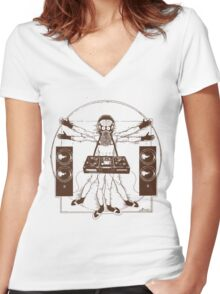 VITRUVIAN ALIEN DJ T-SHIRT #02 Women's Fitted V-Neck T-Shirt