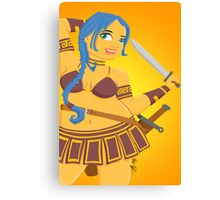 Blue Haired Warrior Woman Canvas Print