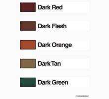 Brick Sorting Labels: Dark Red,  Dark Flesh,  Dark Orange,  Dark Tan,  Dark Green by 9thDesignRgmt