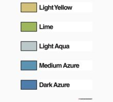 Brick Sorting Labels: Light Yellow, Lime, Light Aqua, Medium Azure, Dark Azure by 9thDesignRgmt