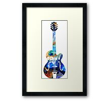 Vintage Guitar - Colorful Abstract Musical Instrument Framed Print