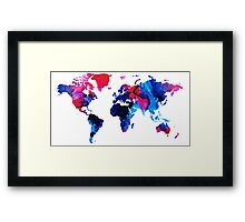 Map of The World 9 -Colorful Abstract Art Framed Print