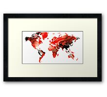 Map of The World 10 -Colorful Abstract Art Framed Print