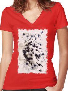 dandelion meadow Women's Fitted V-Neck T-Shirt