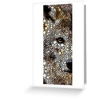 Stone Rock'd Wolf Art by Sharon Cummings Greeting Card