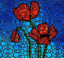 Stone Rock'd Poppies by Sharon Cummings by Sharon Cummings