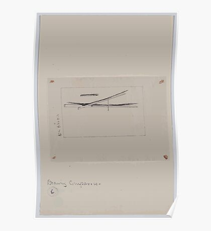 Drawing compass with fine point brush 001 Poster