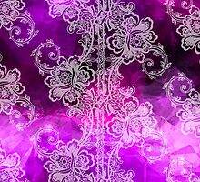 White Lace on Purple Tissue Paper by pjwuebker