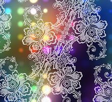 White Lace on Neon Lights Abstract by pjwuebker