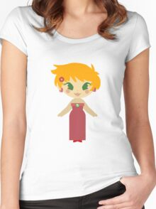 Cute Girl in a Red Dress Women's Fitted Scoop T-Shirt