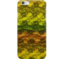 Black Lace Over Waves of Yellow and Orange  iPhone Case/Skin