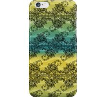Black Lace over Waves of Yellow and Blue iPhone Case/Skin