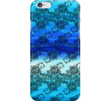 Black Lace Over Waves of Blue iPhone Case/Skin