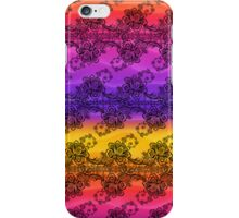 Black Lace Over Soft Rainbow of Waves iPhone Case/Skin