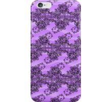 Black Lace Over Soft Purple Waves iPhone Case/Skin