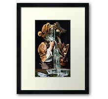 Man Drinking From a Well with Cabinet of Linen. Framed Print