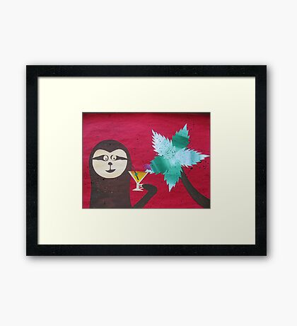 Sloth takes a Day Off- collage with math books- rhymes for kids Framed Print