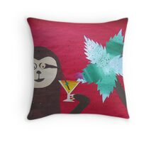Sloth takes a Day Off- collage with math books- rhymes for kids Throw Pillow