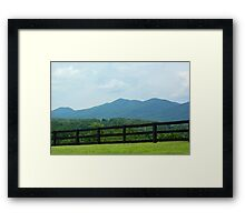 Fence in front of Blue Ridge Mountains Framed Print