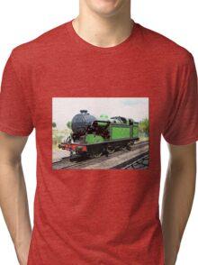 Vintage steam train in green  Tri-blend T-Shirt