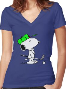 Snoopy and Golf Women's Fitted V-Neck T-Shirt