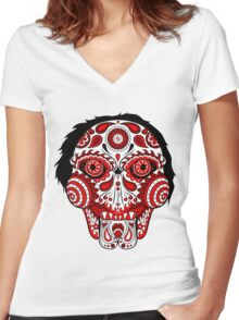 Billy the Puppet Calavera Women's Fitted V-Neck T-Shirt