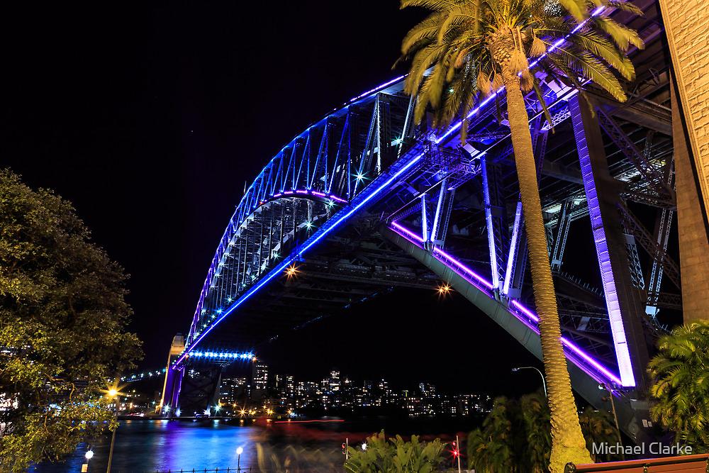 Sydney Harbour Bridge lights by Michael Clarke