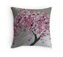 pink cherry blossom tree from Japan with silver and white Throw Pillow