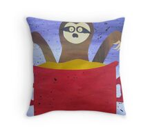 Sloth in a broth- Animal Rhymes - created from recycled math books Throw Pillow