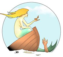 Mermaid Sinks Small Boat Seduced by Tiny Treasure by astralsid