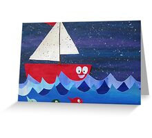 Boat has a float- rhyming collages for kids- made with math book drafts Greeting Card