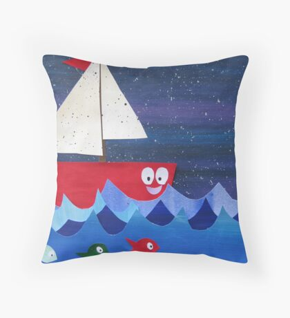 Boat has a float- rhyming collages for kids- made with math book drafts Throw Pillow