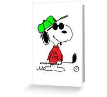 Joe Cool Swinging the Golf Club Greeting Card