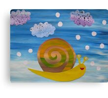 Snail in Hail - Animal Rhymes - created from recycled math books Canvas Print
