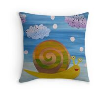 Snail in Hail - Animal Rhymes - created from recycled math books Throw Pillow