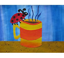 Lady Bug on a Mug - Animal Rhymes - created from recycled math books Photographic Print