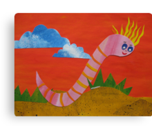 Worm with a Perm - Animal Rhymes - created from recycled math books Canvas Print