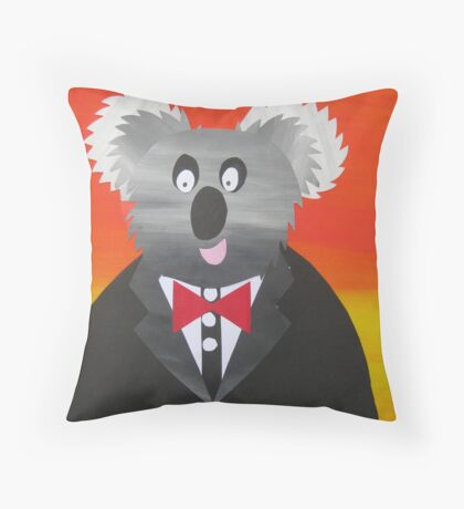 Koala at a Gala- Animal Rhymes - created from recycled math books Throw Pillow