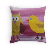 Owl with a Fowl - Animal Rhymes - created from recycled math books Throw Pillow